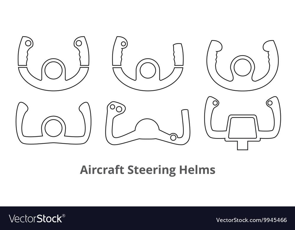 Aircraft Control Wheels Icons Set