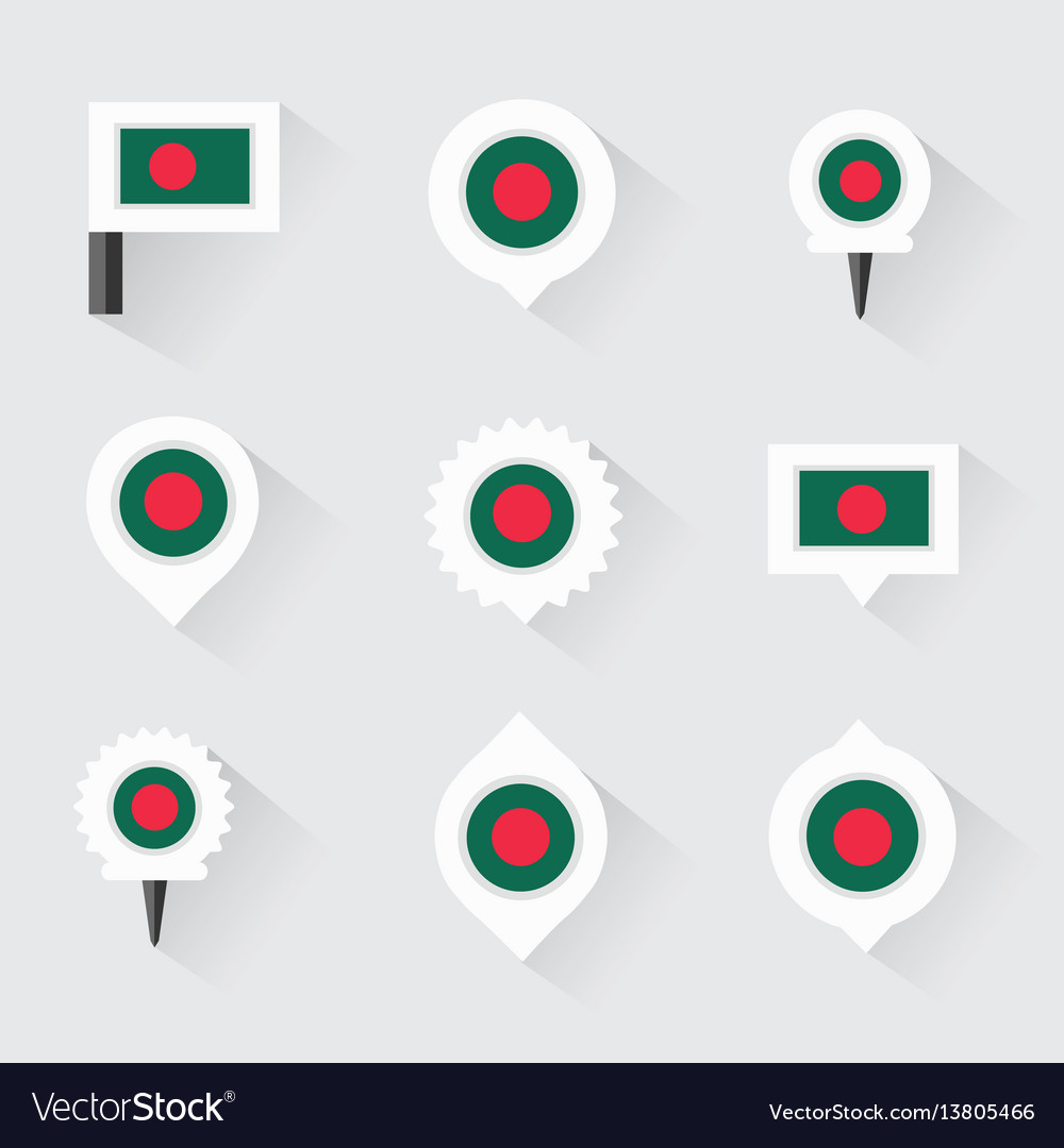 Bangladesh flag and pins for infographic and map vector image