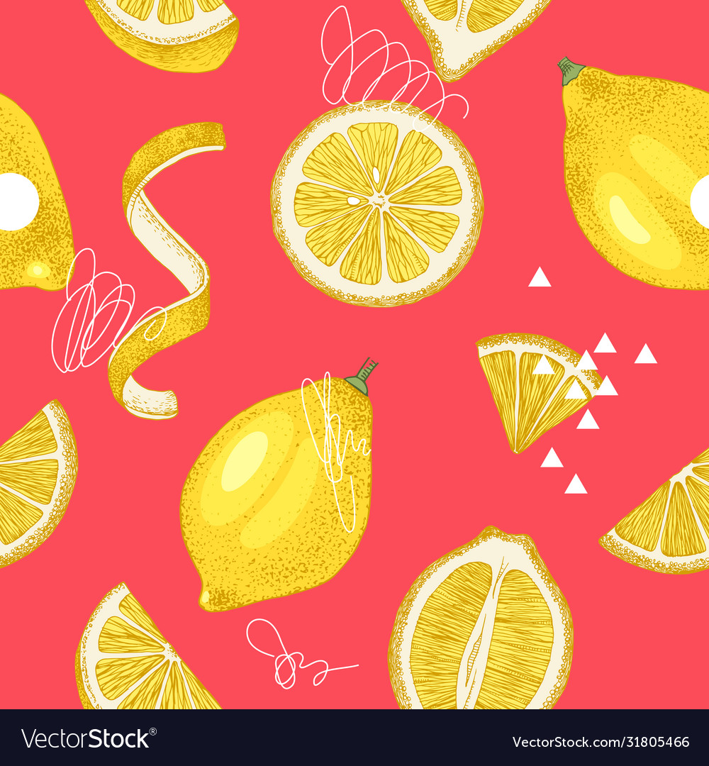 Bright hand drawn seamless pattern with lemons