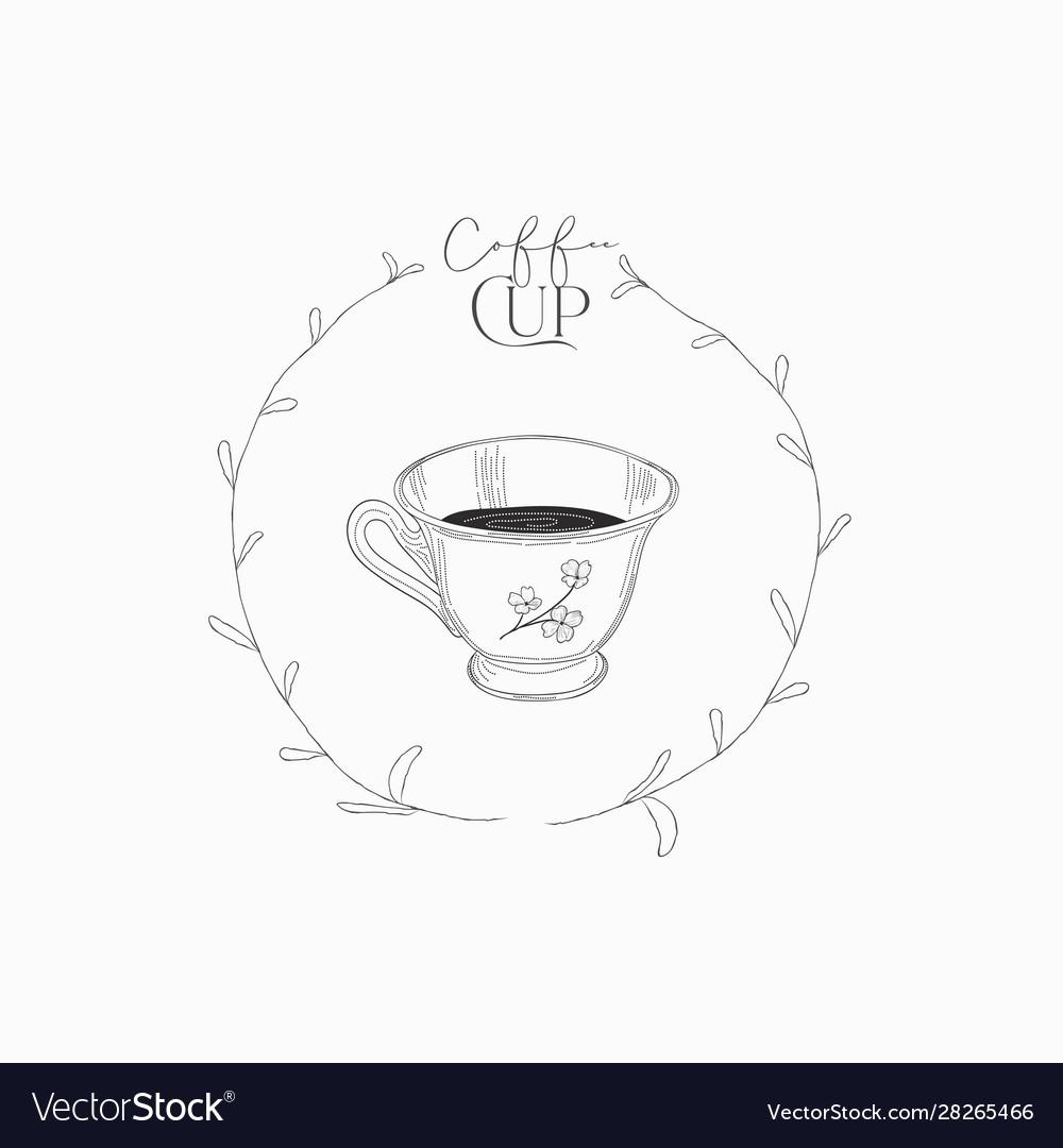 Cup coffee hand drawn