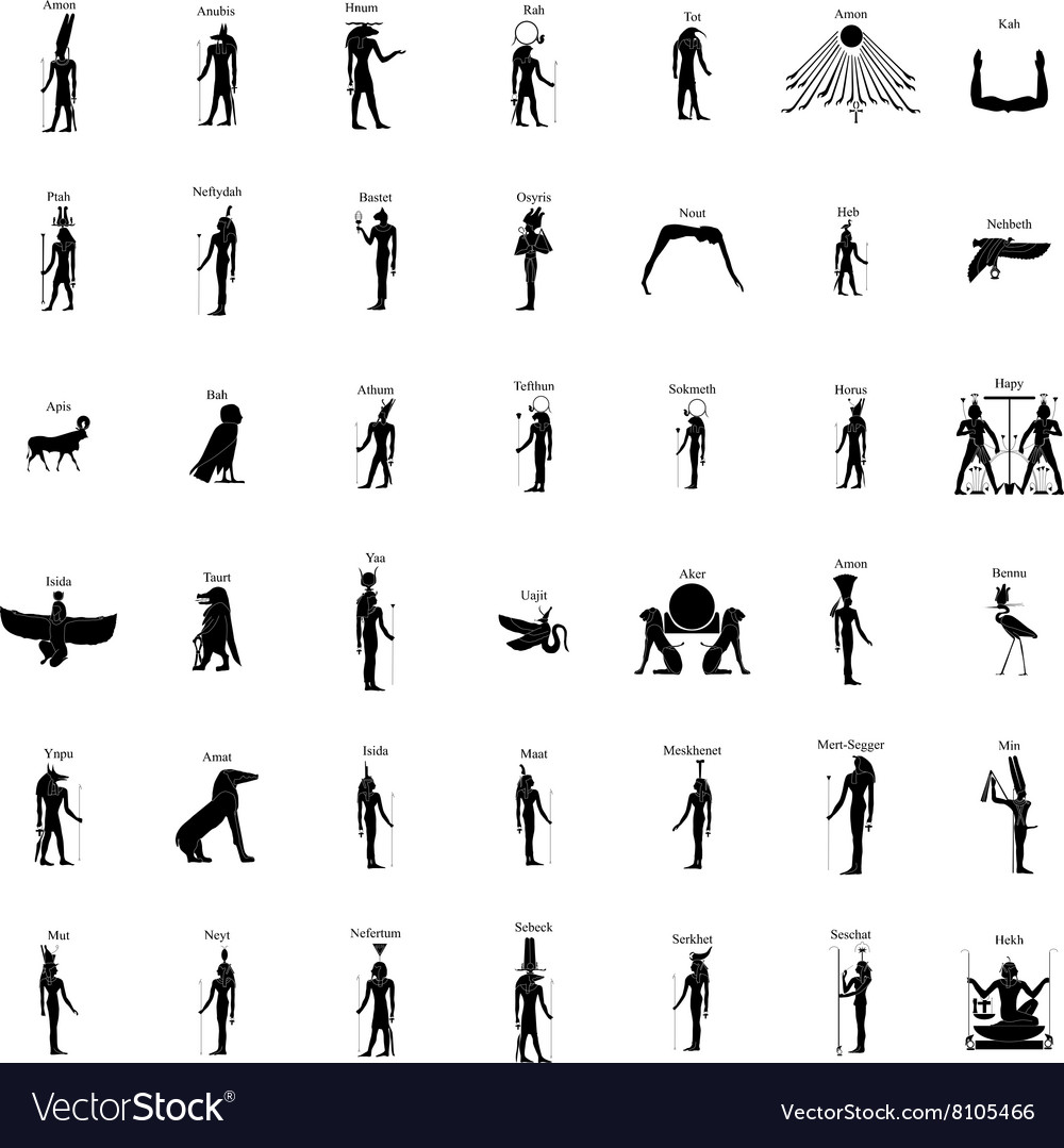 Egyptian Gods Silhouette Set Royalty Free Vector Image