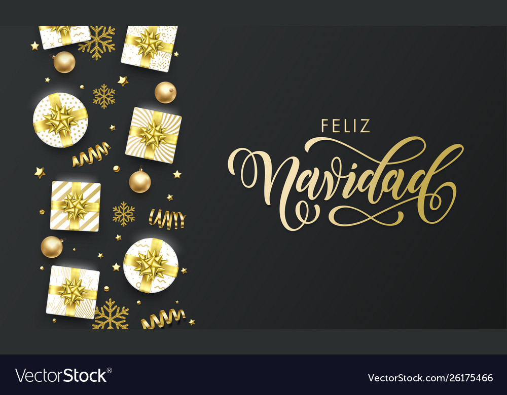 Feliz navidad spansih merry christmas golden