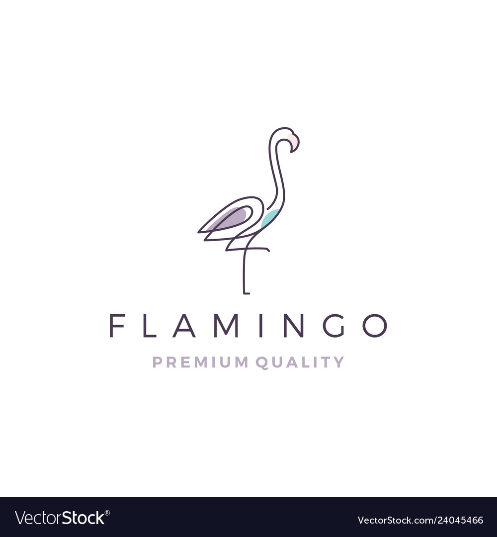 Flamingo logo line outline monoline icon
