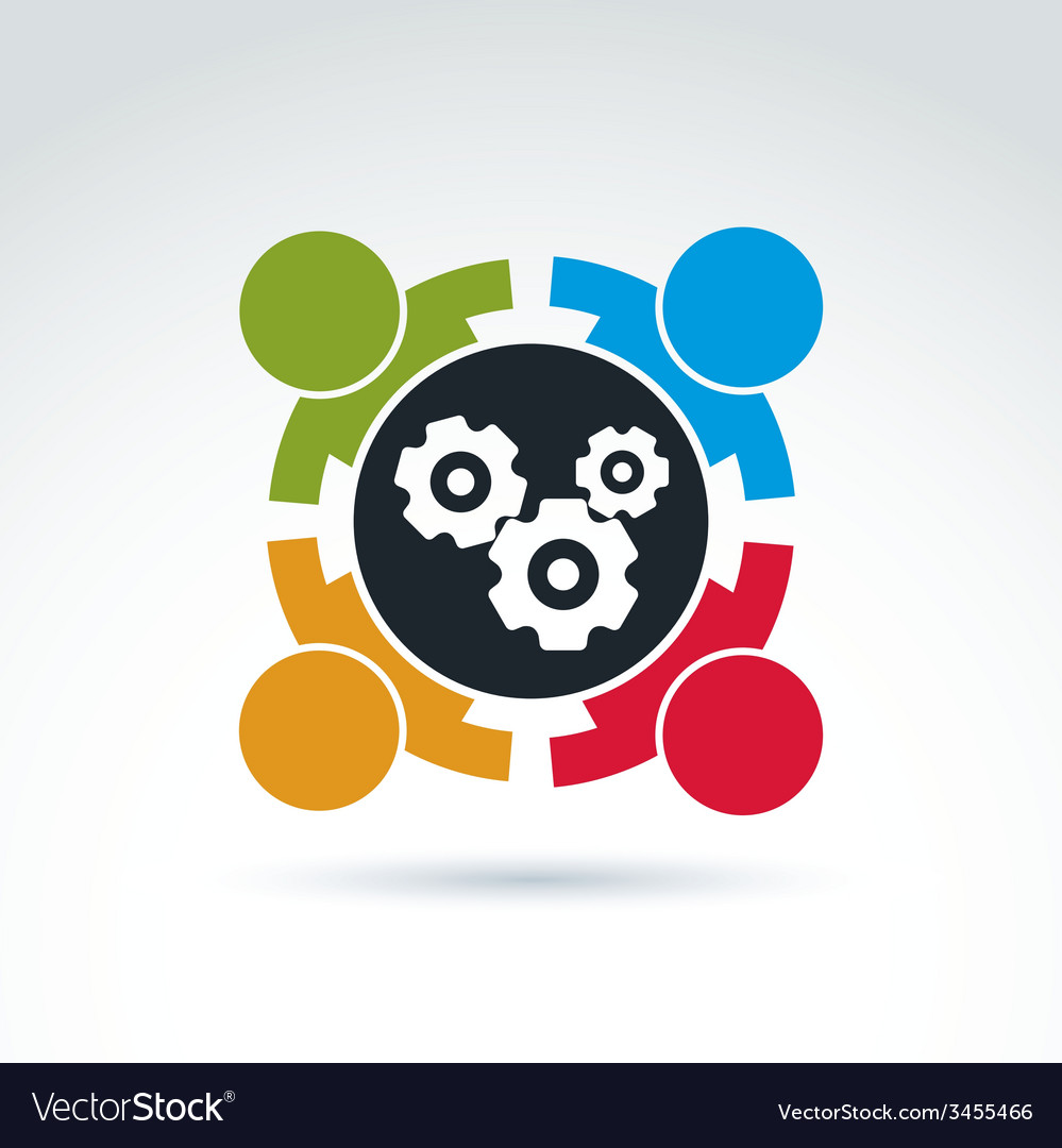 gears and cogs teamwork theme icon conceptual vector image