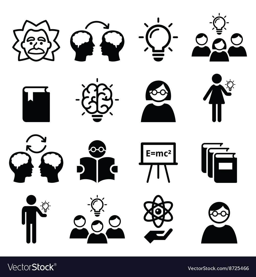 Knowledge creative thinking ideas icons