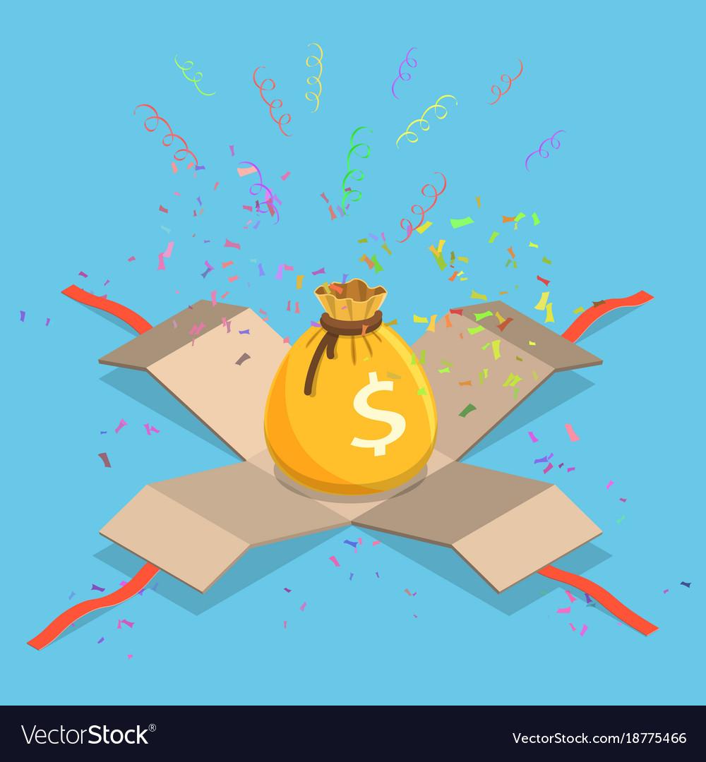 Money bag flat isometric concept