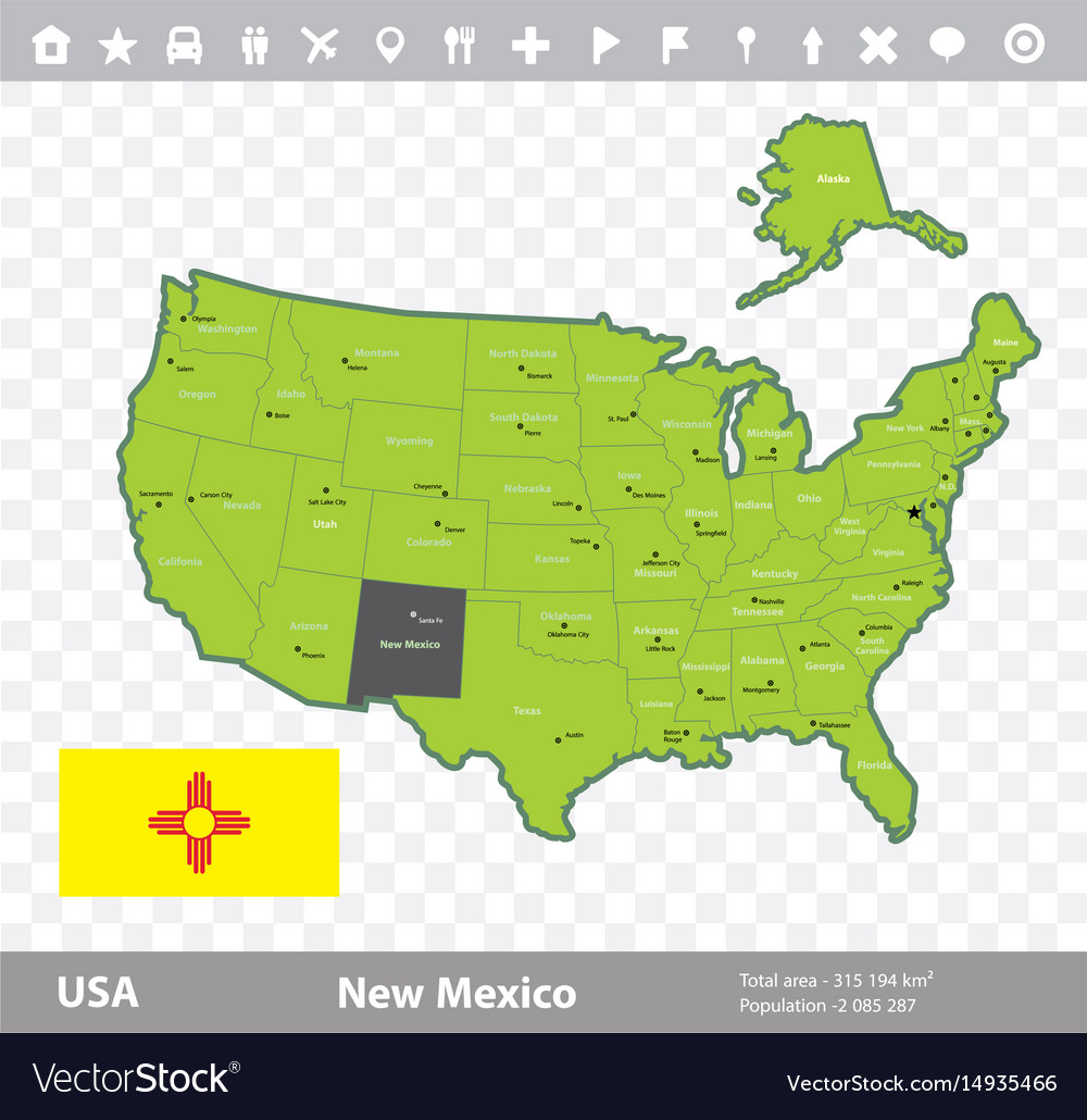 New mexico flag and map