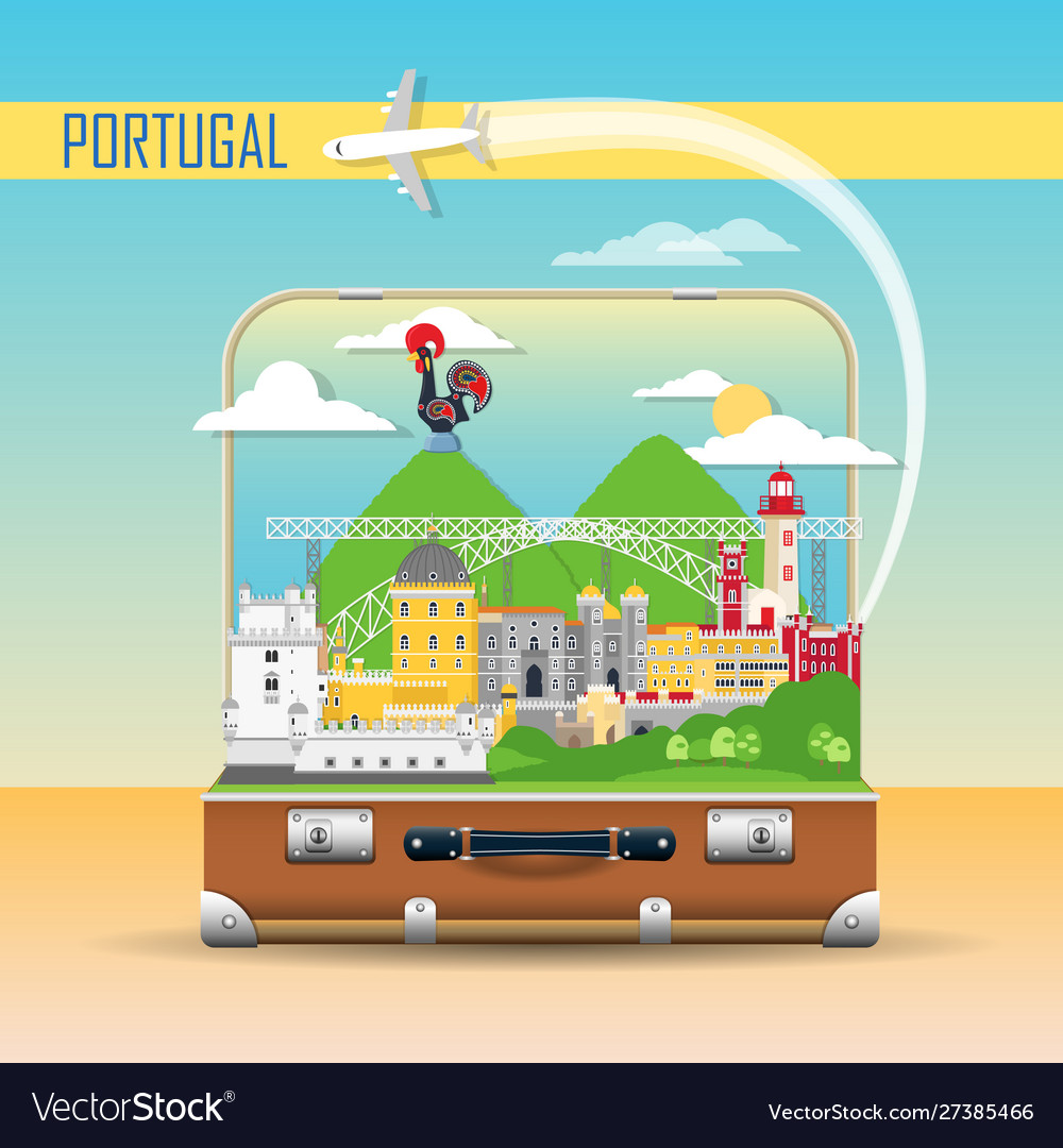 Portugal background with national landmark icons