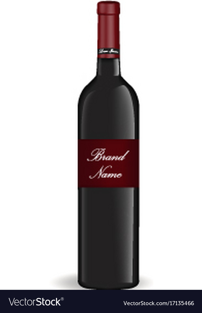 Realistic wine bottle isolated on white