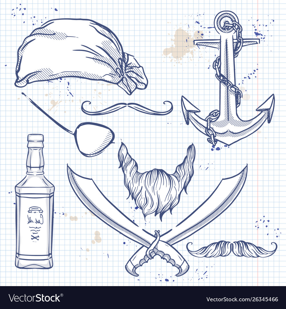 Sketch pirate attributes icon