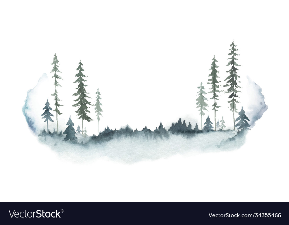 Watercolor winter forest landscape with fir