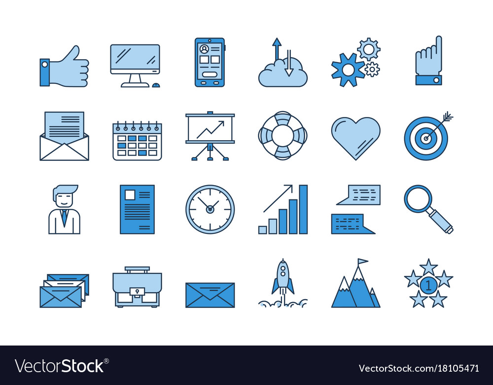 01 blue business icons set Royalty Free Vector Image