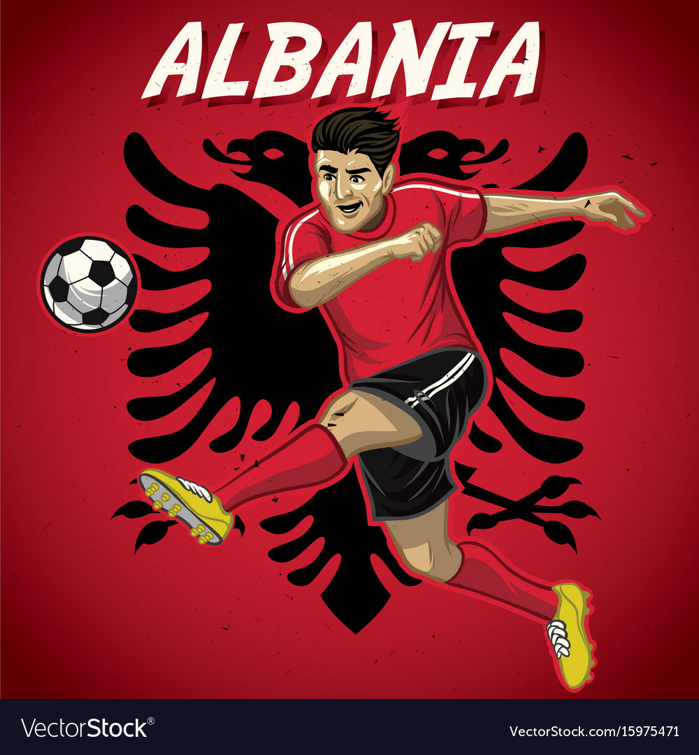 Albania soccer player with flag background