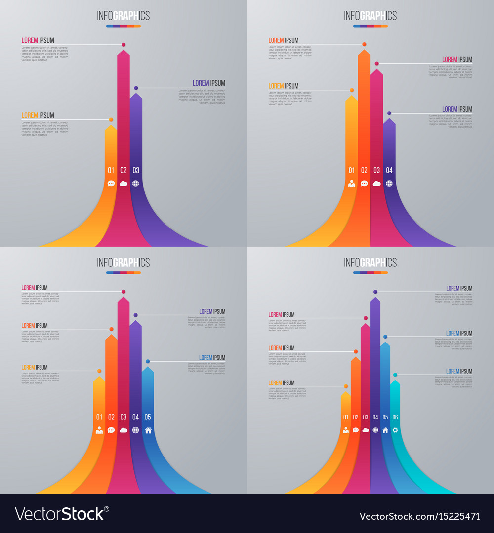 bar chart infographic template with 5 options vector image