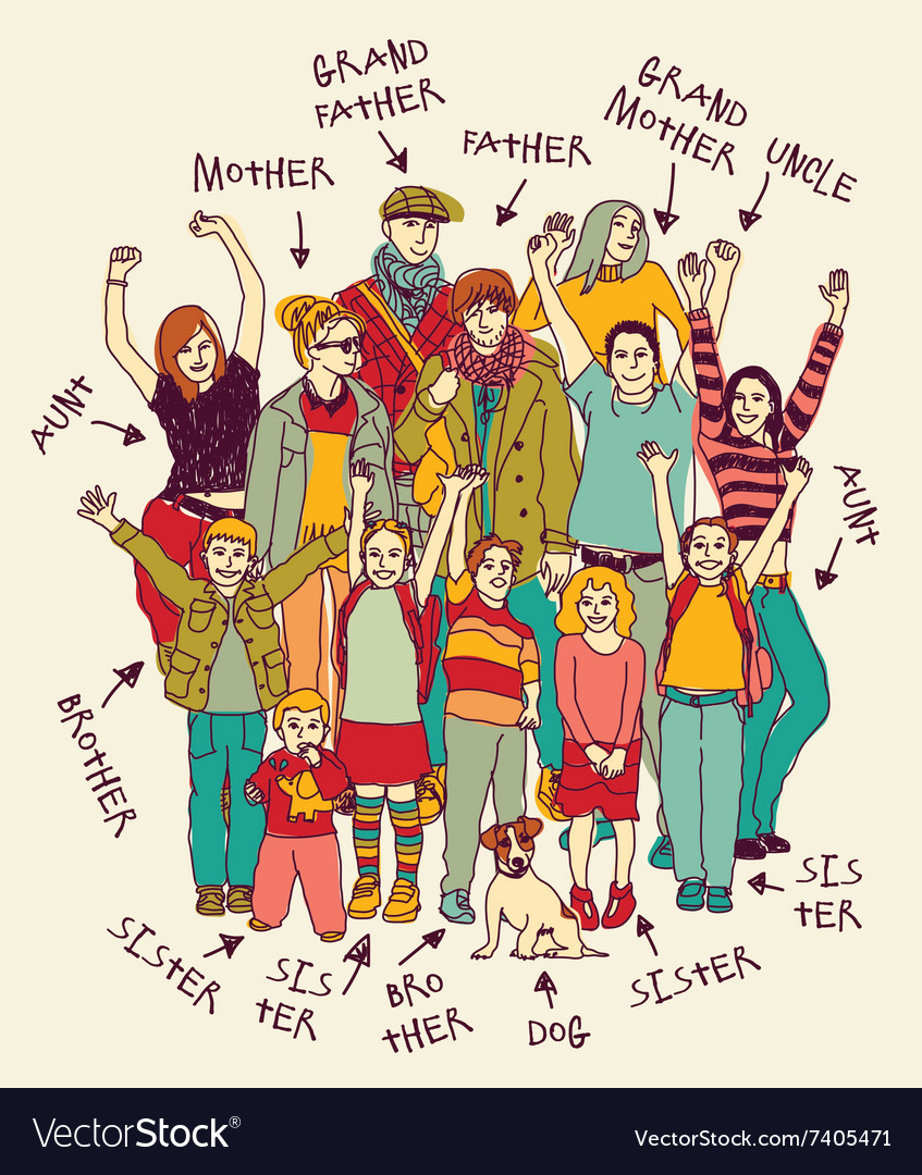 Big happy family group color and ink doodles signs