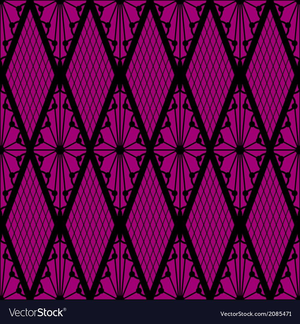 Black lace seamless pattern on pink
