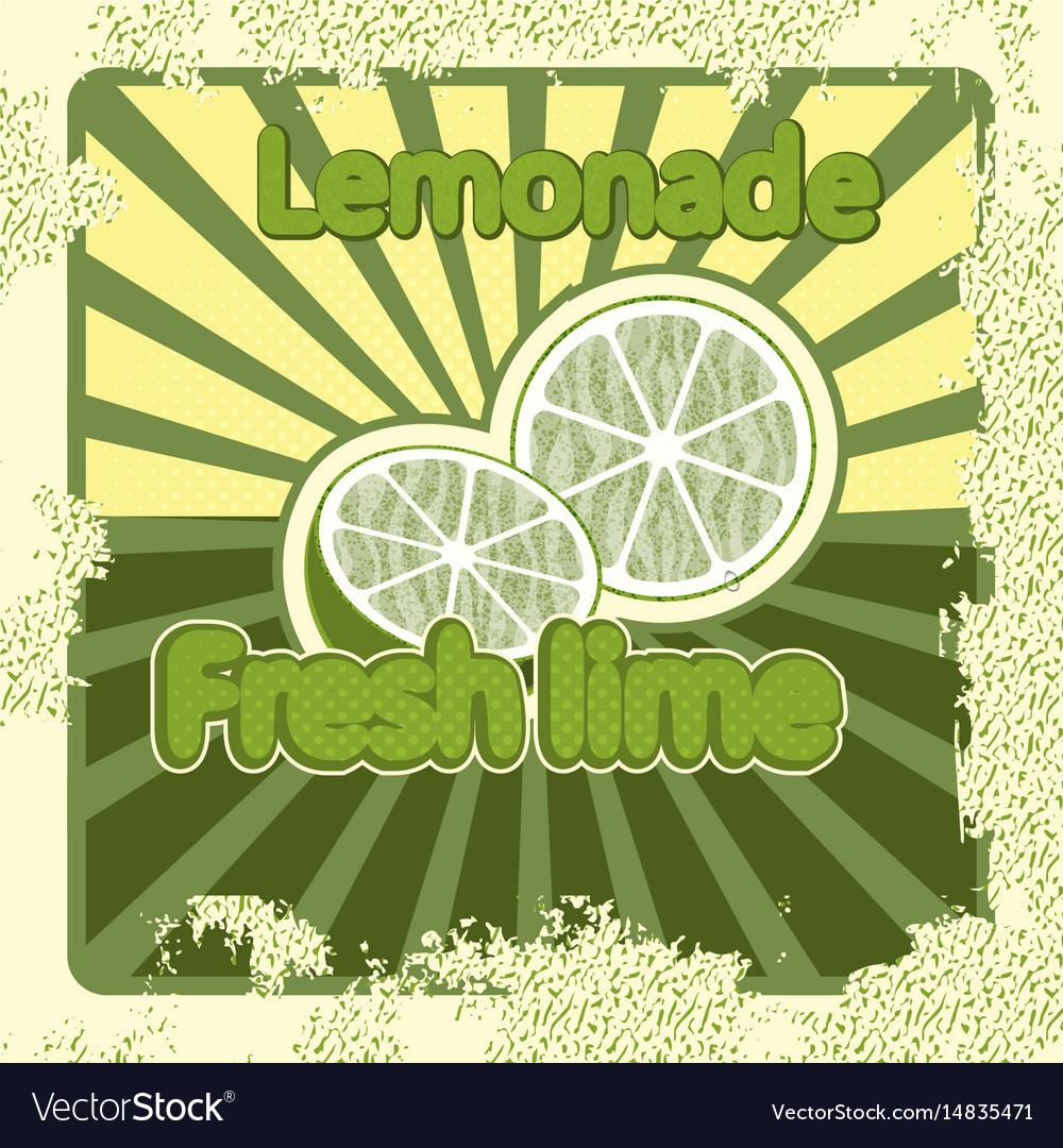 Colorful vintage lemonade lime label poster vector image