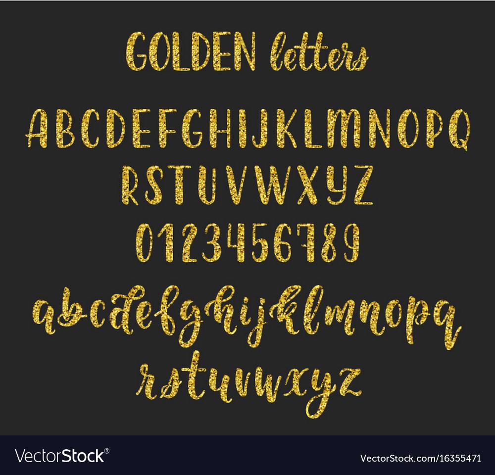 Gold glitter handwritten latin calligraphy brush vector image