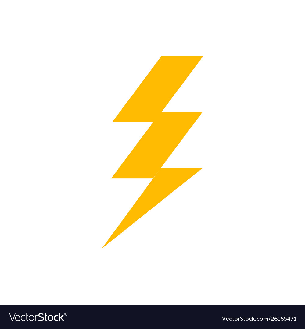 Lightning Bolt Icon Thunder Flash Power Electric Vector Image