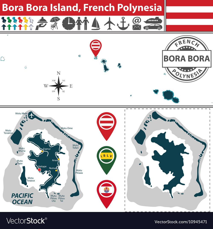 Map of Bora Bora island