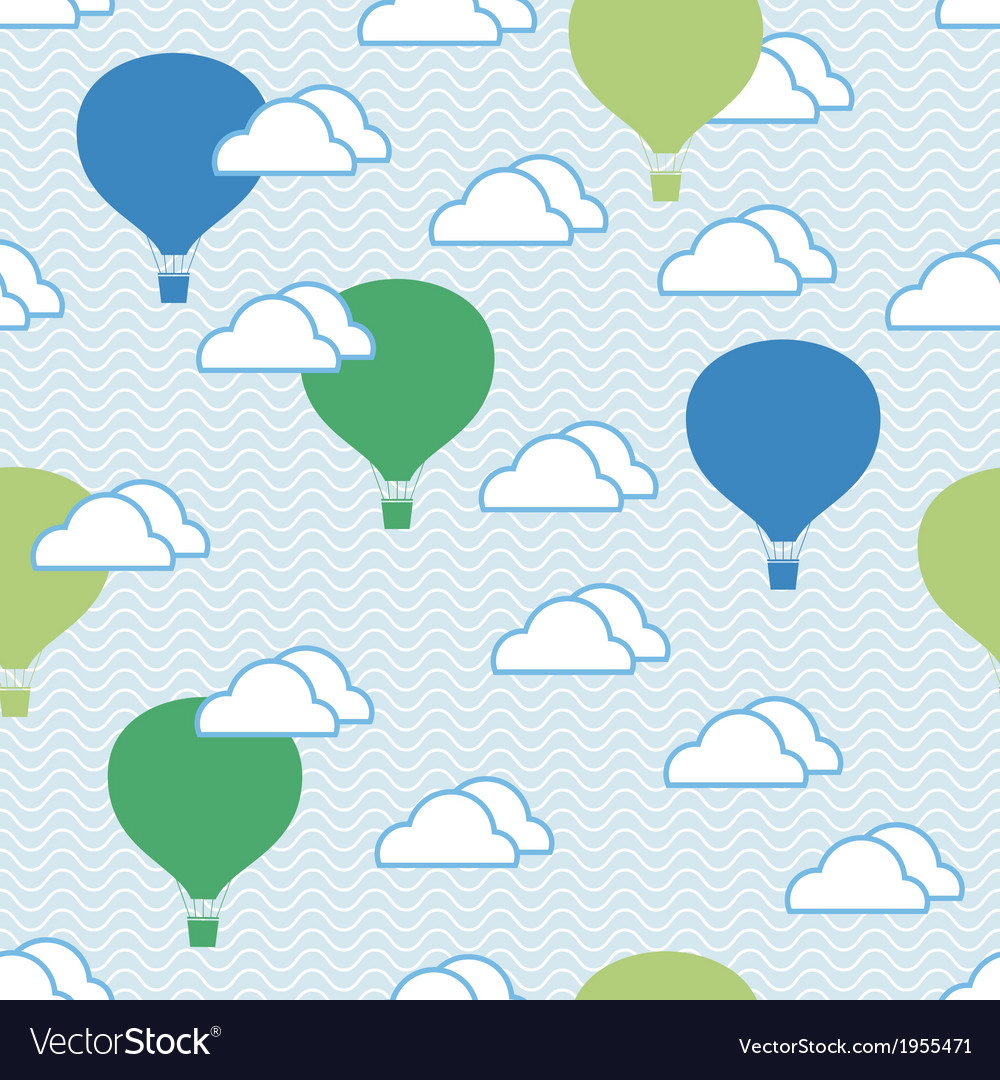 Seamless pattern of hot air balloons and clouds vector image