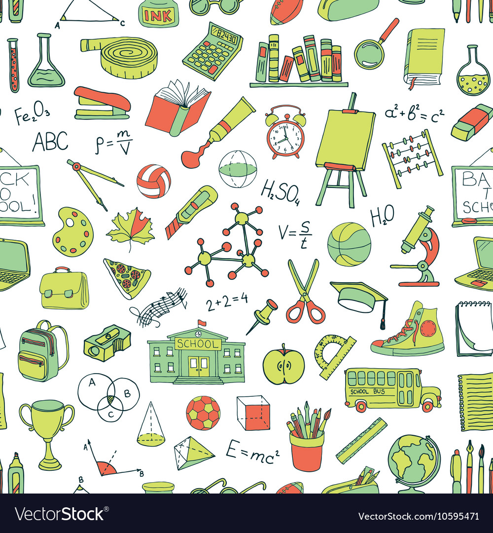 Seamless pattern with hand drawn school elements