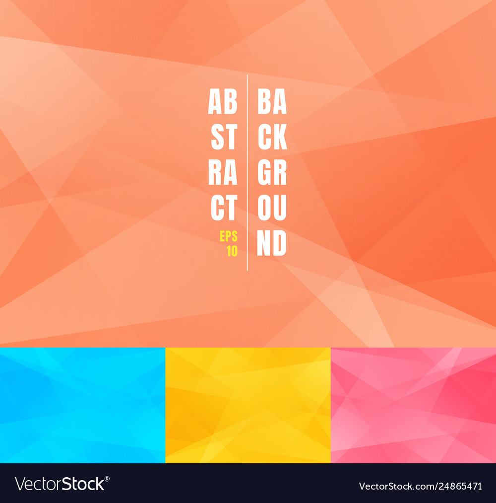 Set low poly trendy abstract background modern vector