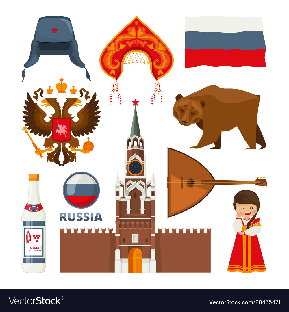 Set of different traditional national symbols of