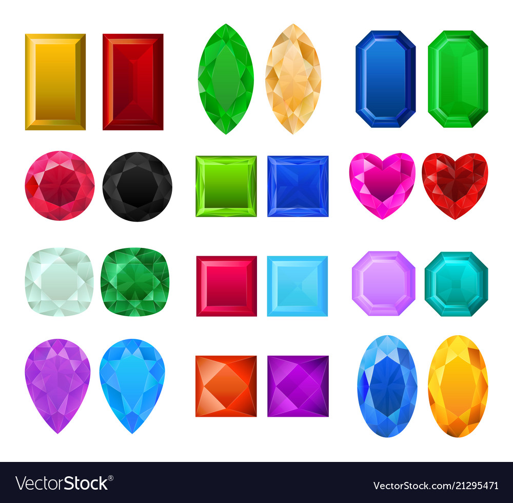Set of realistic precious stones