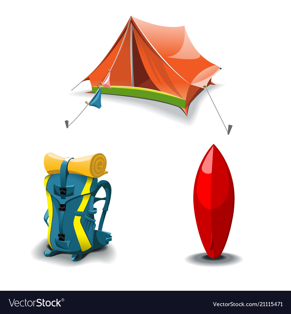 Tent backpack and surf board set