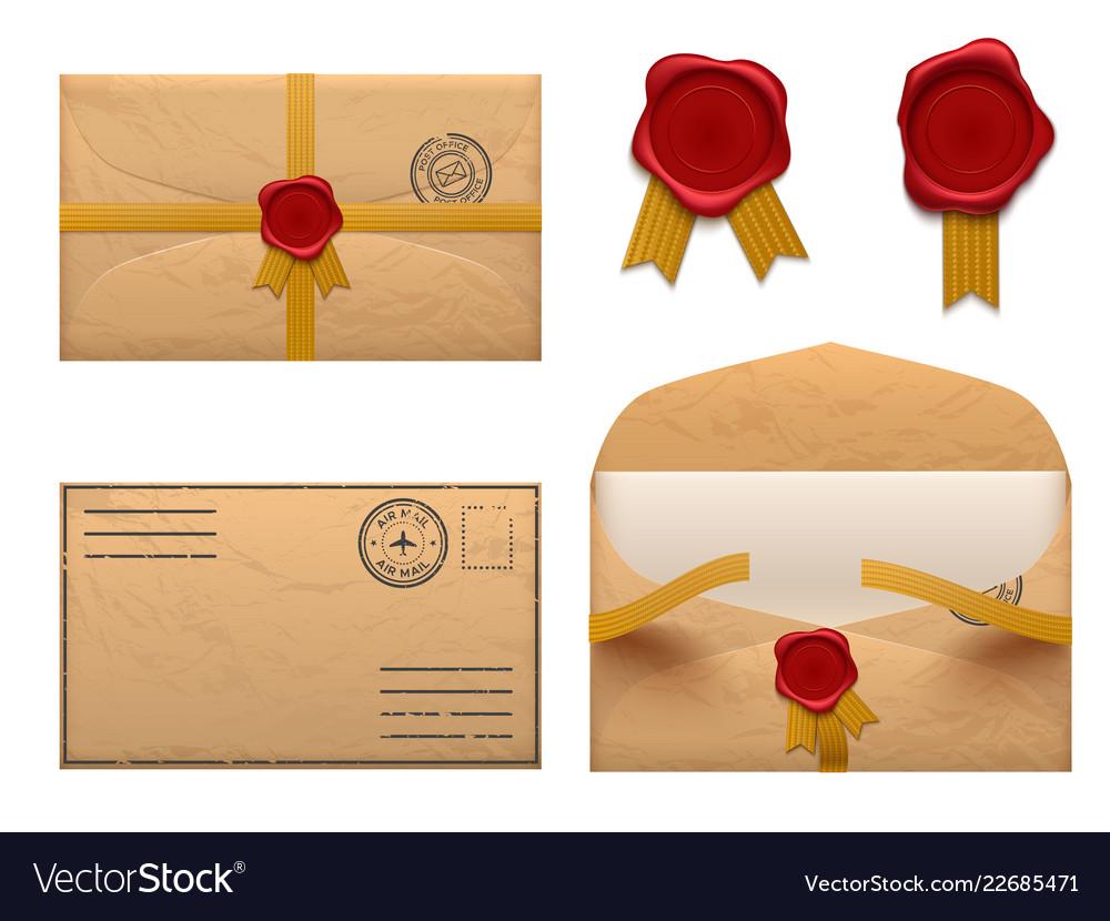 Vintage envelope retro envelopes letter with wax