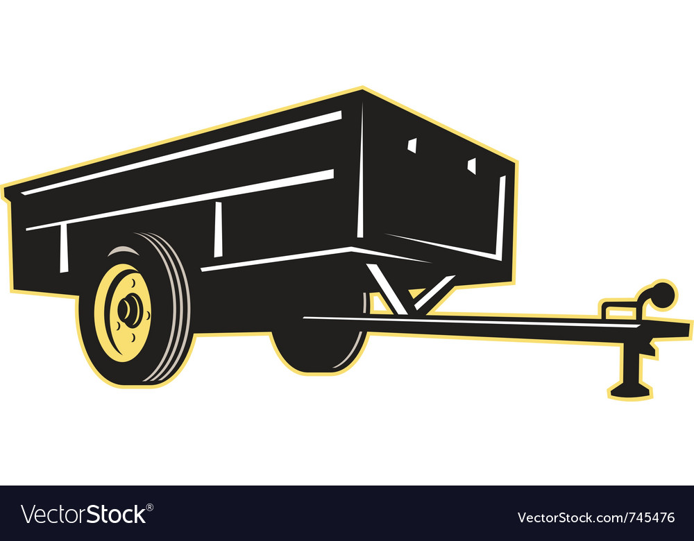 Car garden lawn utility trailer side vector image
