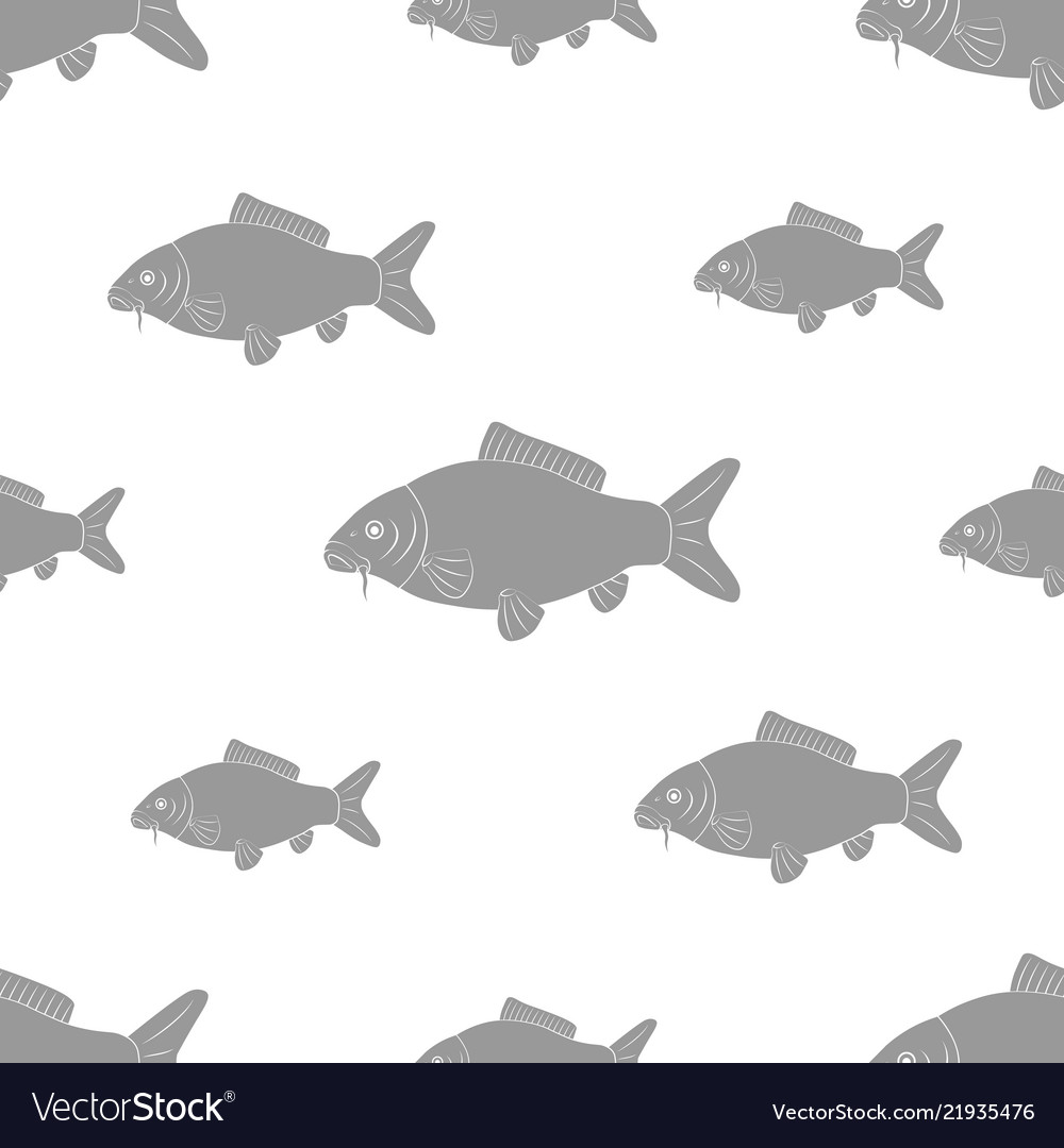Carp of different sizes seamless black and white
