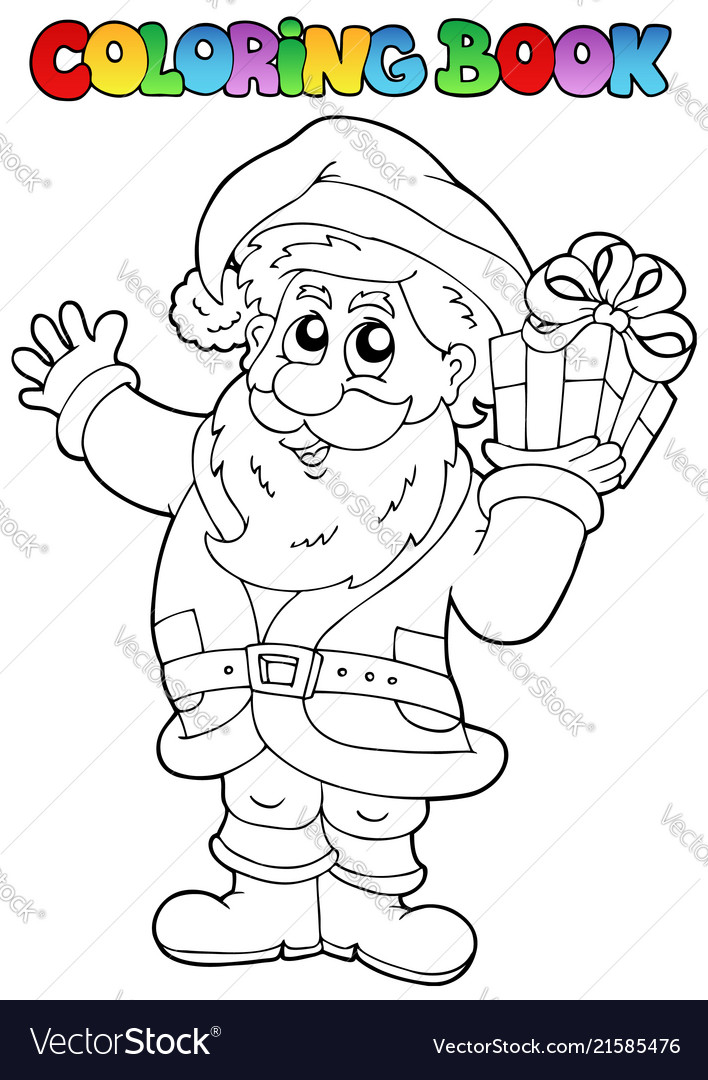 coloring book santa claus topic 1 vector image