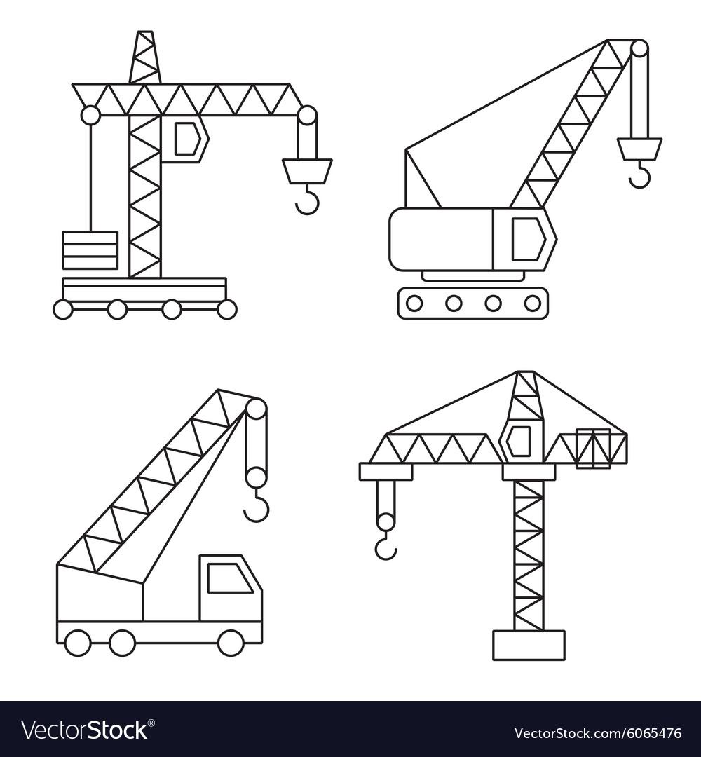 Construction icons Cranes Thin Line