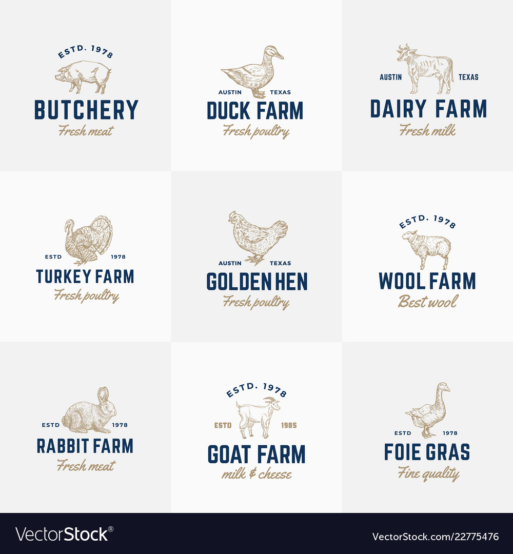 Domestic animals and poultry retro logo