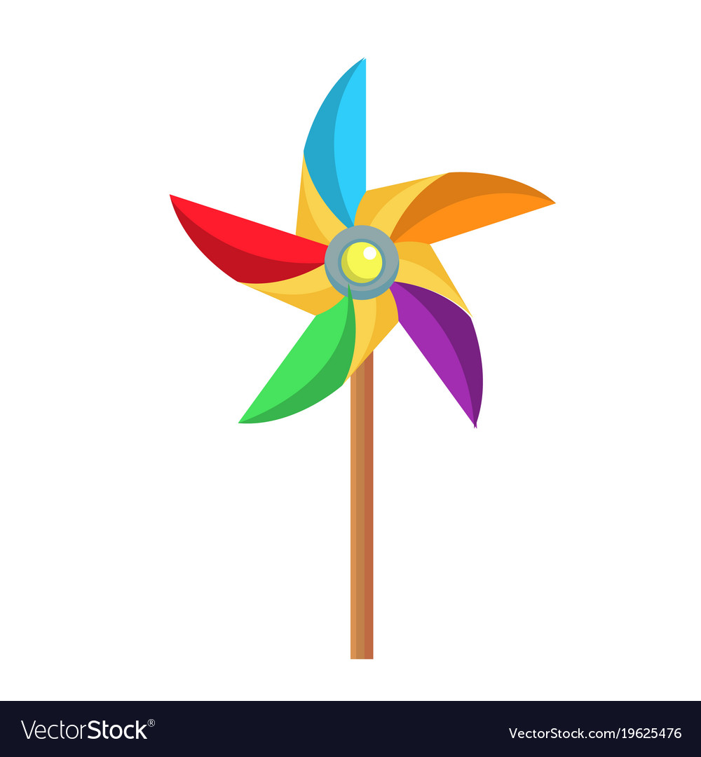 flat paper pinwheel windmill toy icon royalty free vector