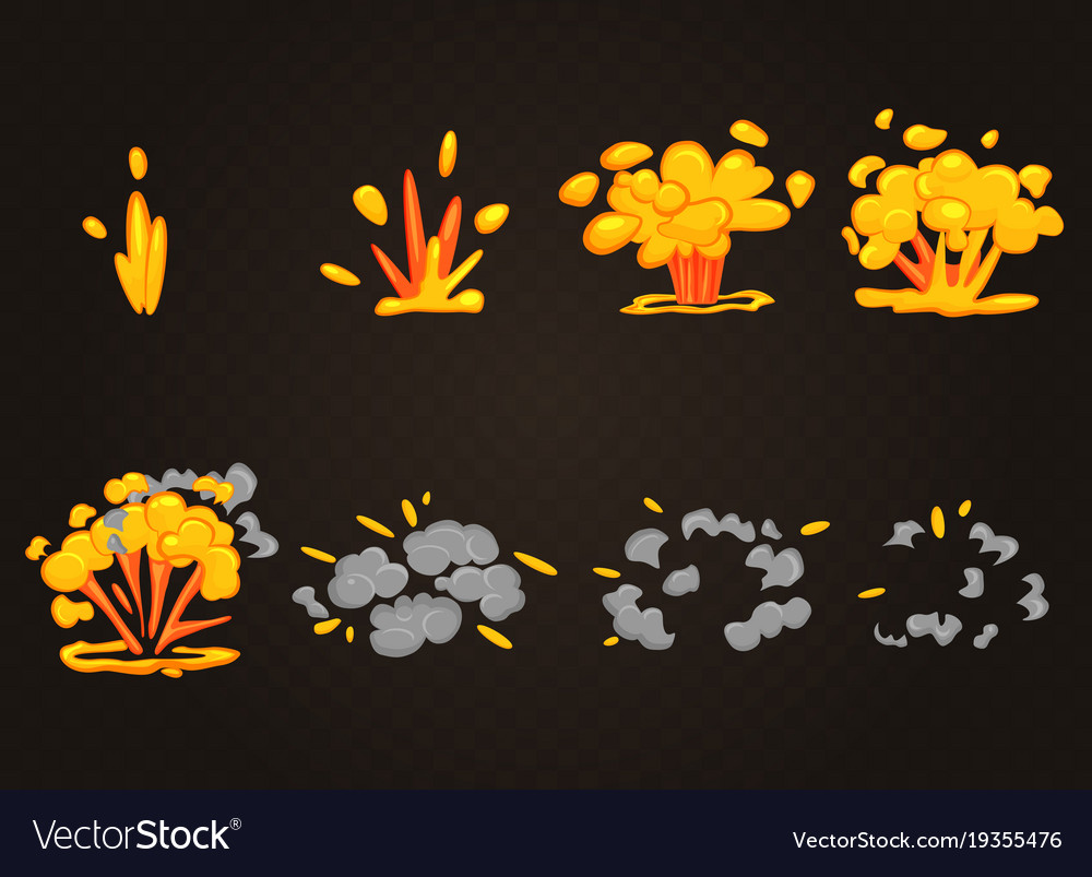 Front cartoon boom explosion effect with vector image