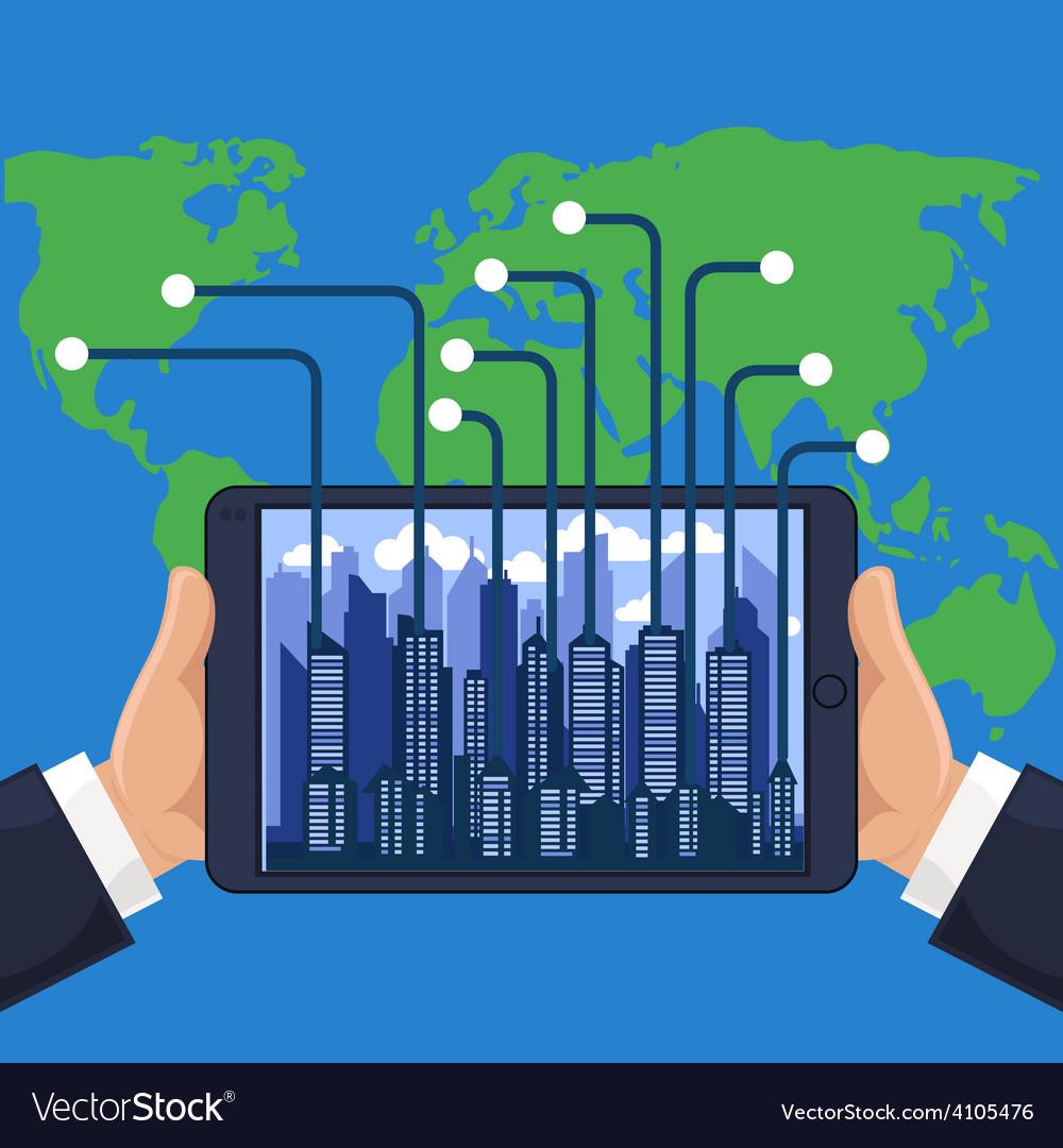 Futuristic city in modern device phone