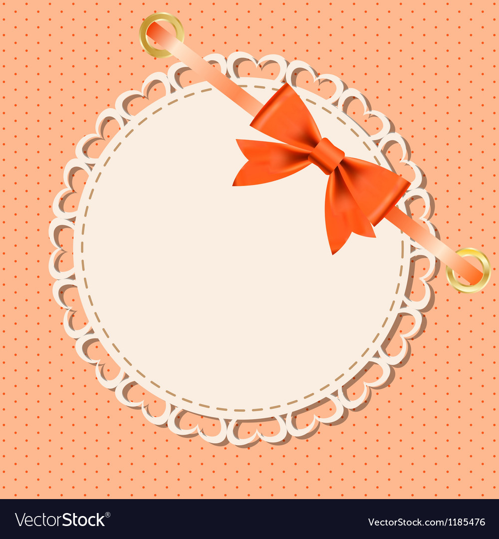 Greeting Card With Frame And Bow Space For Your Vector Image