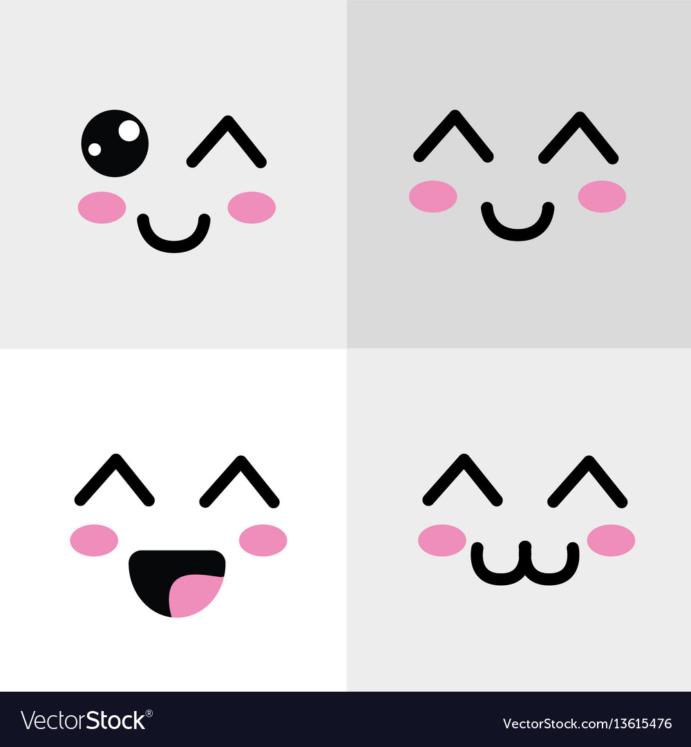 Kawaii happys face icon vector image