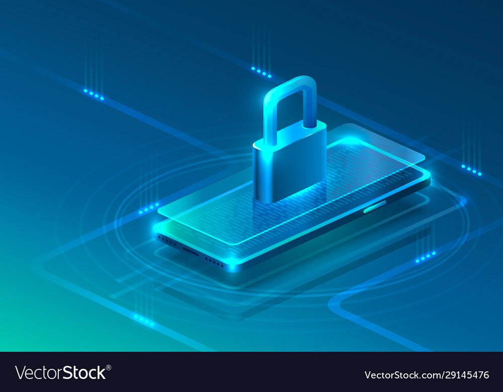 Screen phone neon icon padlock modern blue