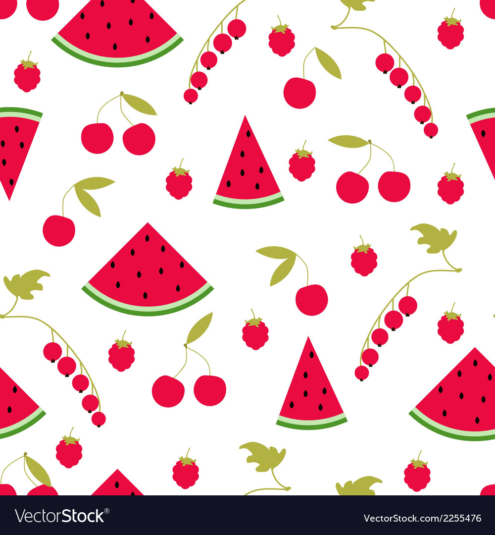 Seamless pattern watermelon cherry raspberry curra