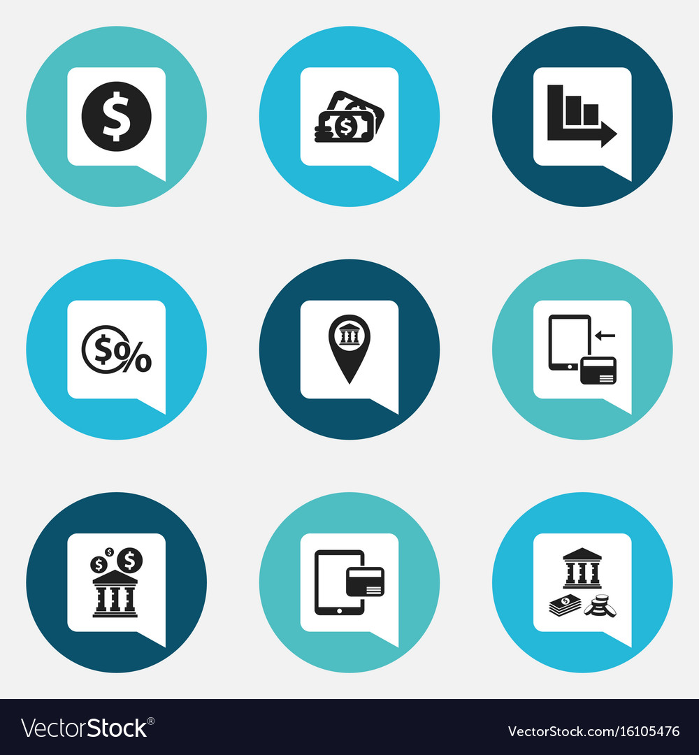 Set of 9 editable banking icons includes symbols vector image