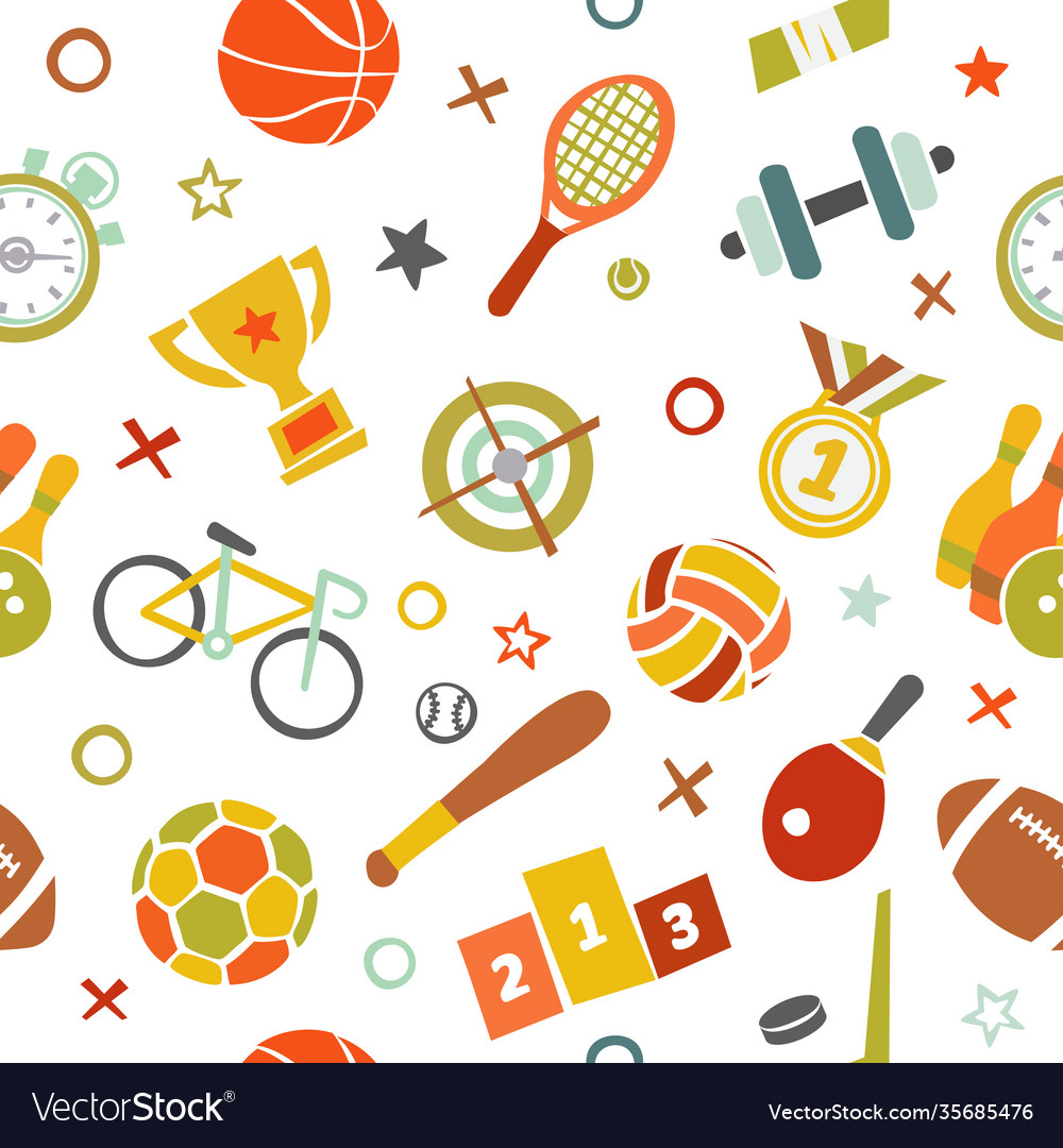 Sport seamless pattern fitness background