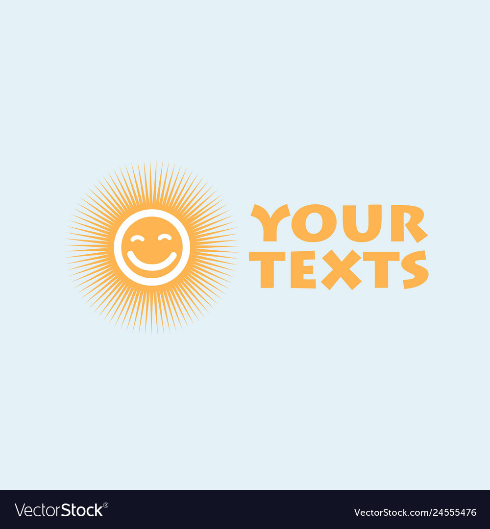 Sun logo design template cartoon