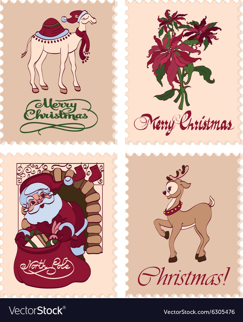 Vintage Christmas Stamps Raindeer Santa