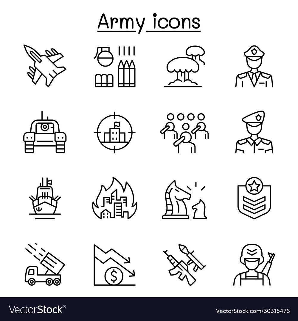 War army icons set in thin line style