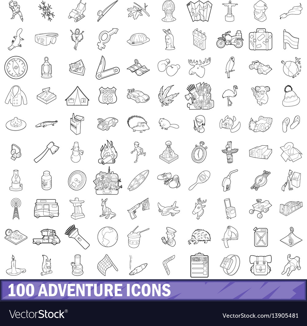100 adventure icons set outline style