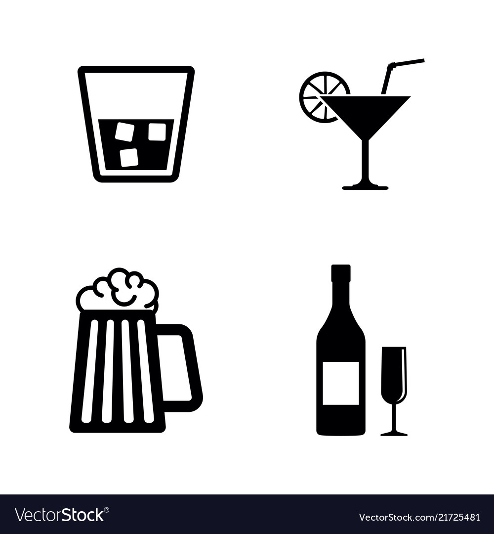 Alcohol drinks simple related icons
